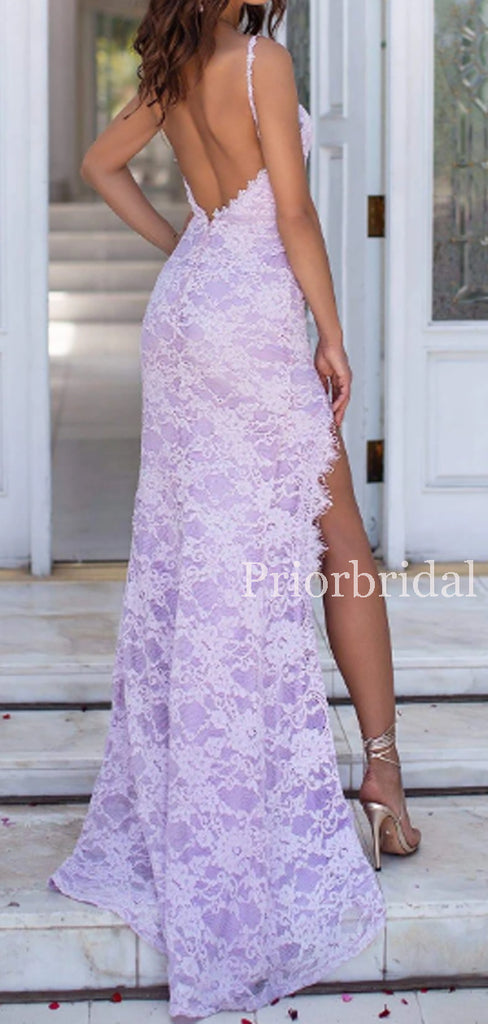 Charming Spaghetti Strap Lace Side Slit Long Evening Dresses Prom Dresses.PD1128