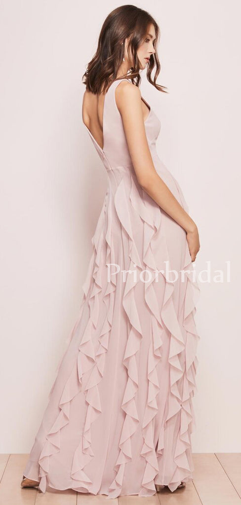 New Arrival V-neck Chiffon Floor-length Long Birdesmaid Dresses.PB1038