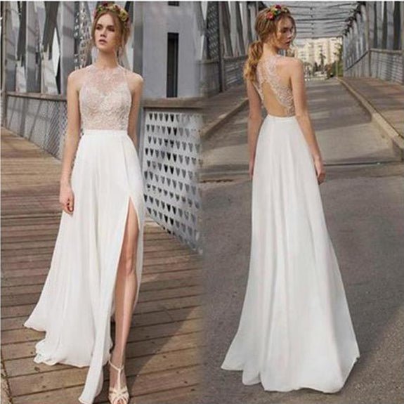 Simple Elegant Open Back Long Sleeve Wedding Dress: Beautiful White Side Split Prom Dress, Open Back Charming
