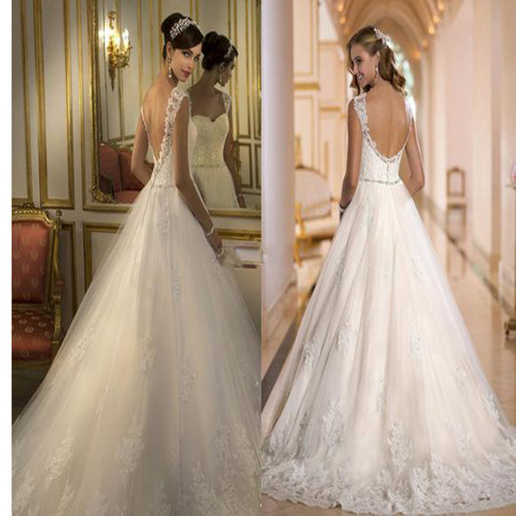 2017 Cap Sleeve Ball Gown With Lace Princess Backless Wedding Dress. RG0185