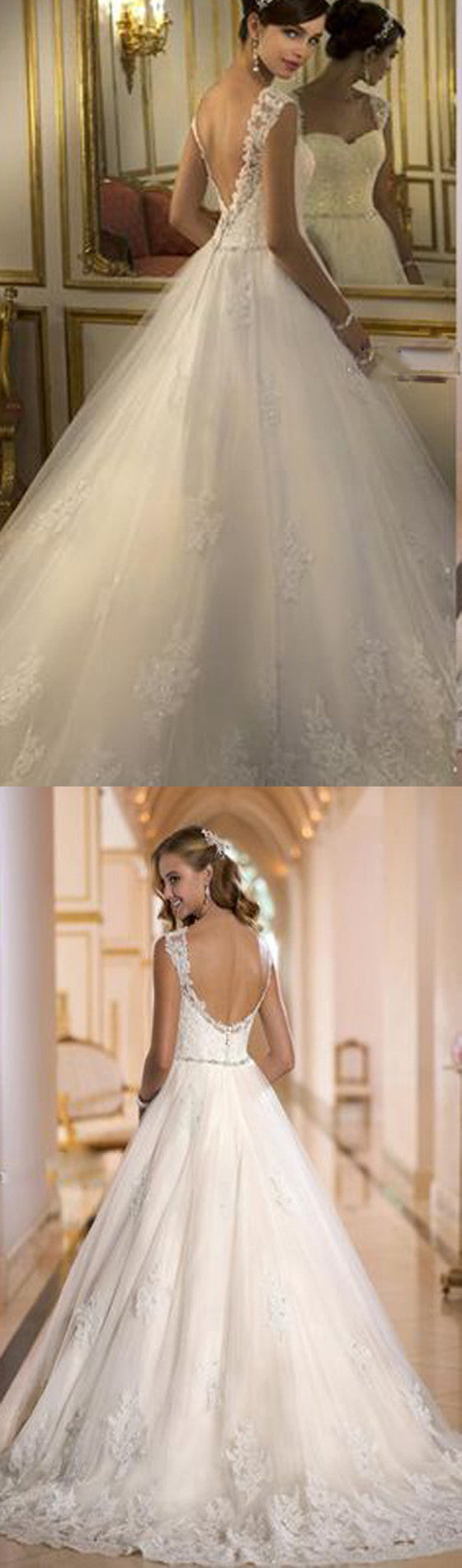 2017 Cap Sleeve Ball Gown With Lace Princess Backless Wedding Dress ...