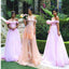 New Trendy Off The Shoulder Maroom Lace Unique Wedding Party Long Bridesmaid Dresses.  RG0045
