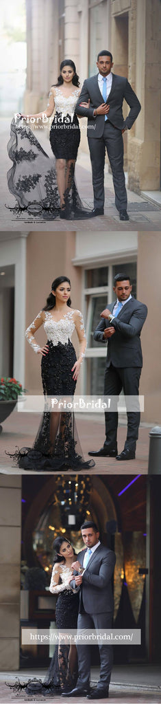 Fashion Black And White Lace Long Sleeve  Mermaid  Long Prom Gown Dresses,PB1037