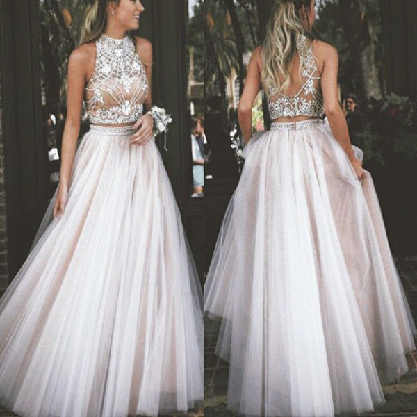 Hot Sale Two Pieces Ball Gown Sparkly Formal Junior Evening Prom Dress Long .PB1020