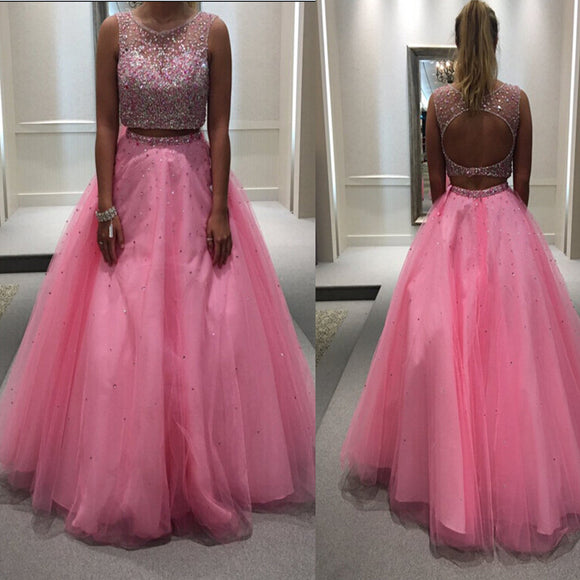 Long Pink Vintage For Teens Ball Gown Evening Party Formal Prom Dresses. RG0090
