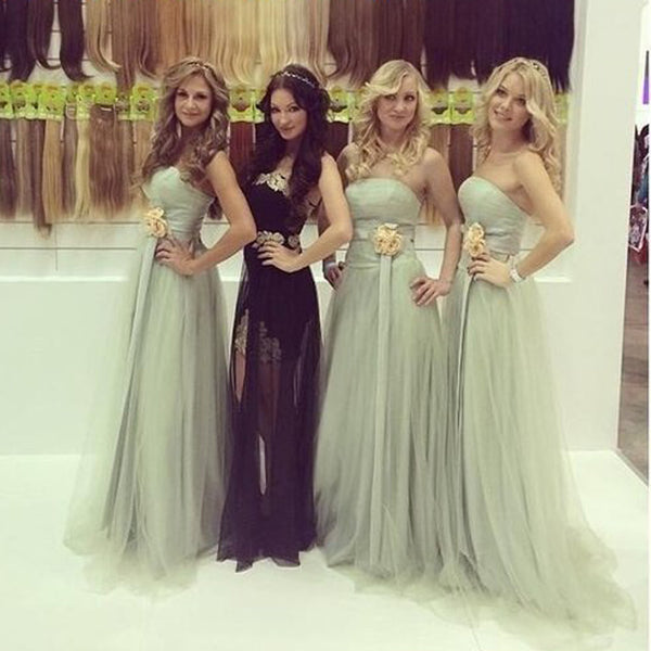 Long Strapless Elegant Simple A-line For Young Girls Bridesmaid Dresses. RG0046