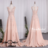 Blush Pink Lace  Appliques Sleeveless V-neck Side Split Long A-line  Prom Gown Dresses,PB1036