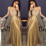 Long Sleeve Gold Lace Sexy A-line Pretty Prom Gown Dress. PD1021