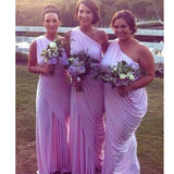 One Shoulder Lilac Plush Size Simple Elegant Cheap Long Bridesmaid Dresses. RG0047