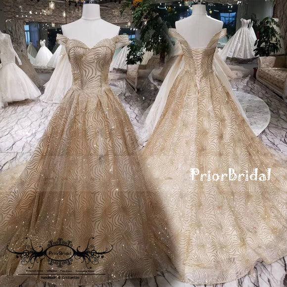 Gorgeous Off Shoulder Gold Sequin Sweetheart Lace Up Back ball Gown Prom Gown Dresses,PB1034