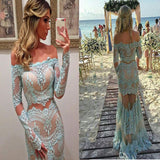 Long Sleeve Off Shoulder Lace Unique Style Mermaid Two Pieces Prom Dresses. RG0091
