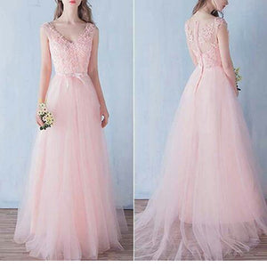 Pink Lace V-Neck For Teens A-line Cute Floor Length Prom Gown Dresses. PD1023
