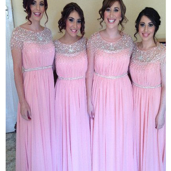 Short Sleeve Peach Pink Beaded Sparkly Wedding Party Elegant Long Bridesmaid Dresses. RG0048