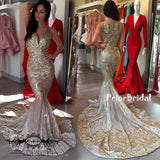 Stunning Sparkly Fashion Gold Sequin Mermaid Evening Party  Prom Gown Dresses,PB1035