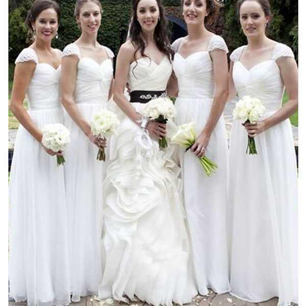 Long White Cap Sleeve Simple Elegant Chiffon Wedding Party Cheap Bridesmaid Dresses. RG0049