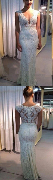 Long White Lace Vintage Mermaid Simple V-Neck Charming Formal Prom Dresses.  RG0110