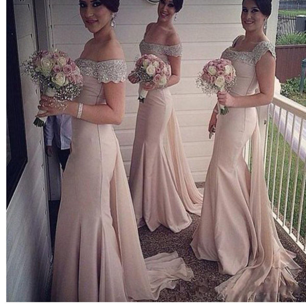 New Arrival Off The Shoulder Unique Style Mermaid Wedding Long Bridesmaid Dresses. RG0050