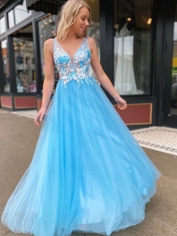Gogerous V-neck Tulle With Appliques A-line Long Prom Dresses Evening Dresses.PB1125