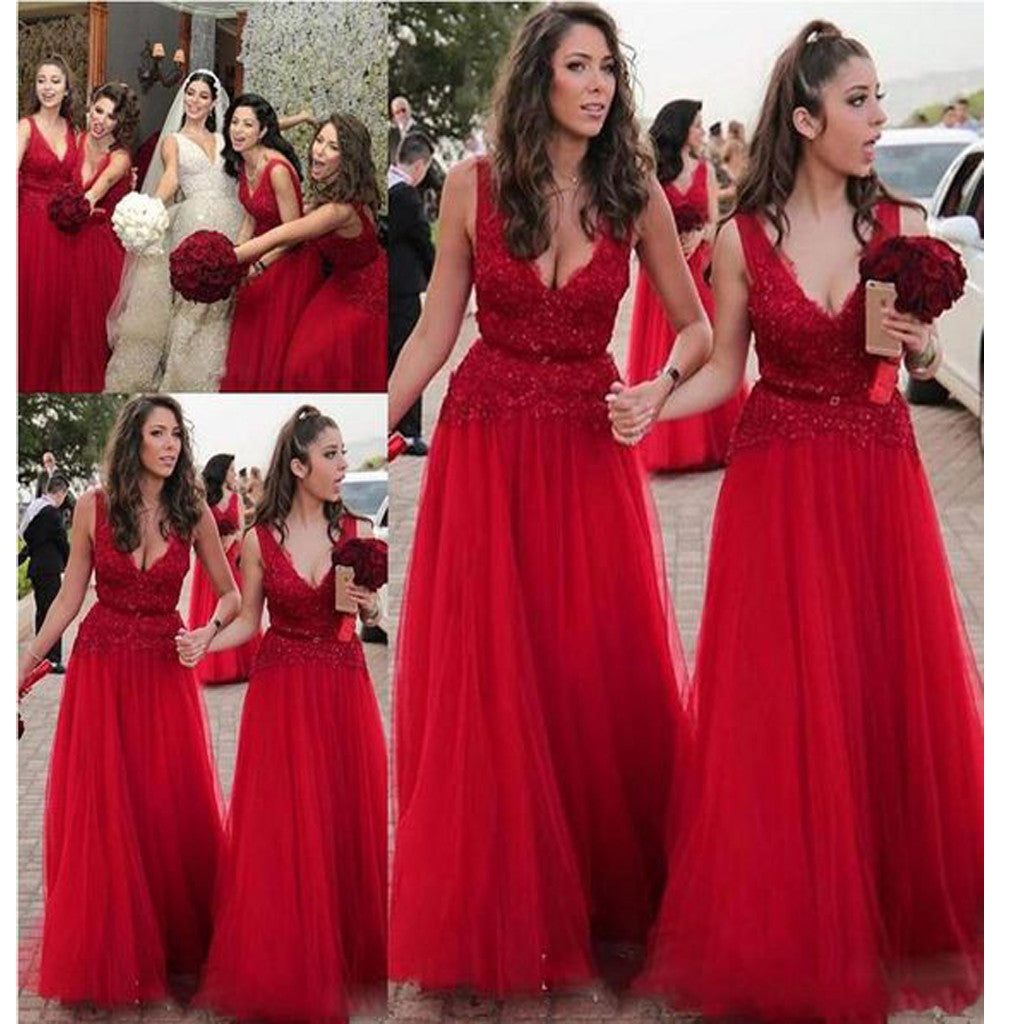 Long Red V-Neck A-line Country Modest Plush Size Wedding Party Bridesmaid Dresses.  , RG0116