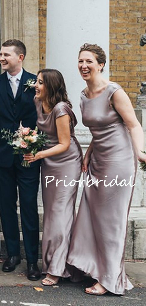 Elegant Scoop Neck Short Sleeve Wedding Party Evening Dresses Long Bridesmaid Dresses. PB1181