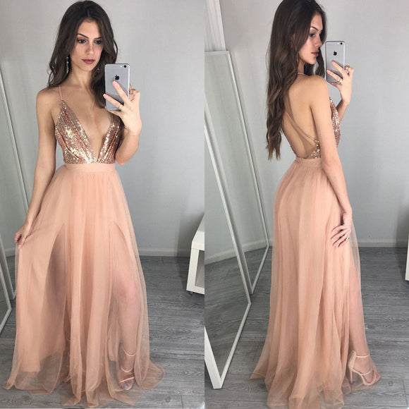Hot Sale Deep V-Neck Sexy Backless A-line Unique Sparkly Beauty Prom Dress Long. PB1026