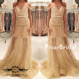 Off Shoulder Gold Sequin Appliques See-through Sweetheart Prom Gown Dresses,PB1032