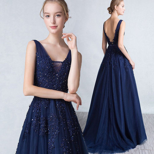 Sleeveless Navy Blue Open Back Evening Prom Gown Party Dresses Long.PD1027