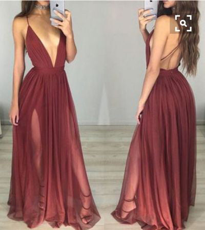 Black Deep V-Neck Sexy Hot Sale Backless Simple Prom Party Dresses. PD1029