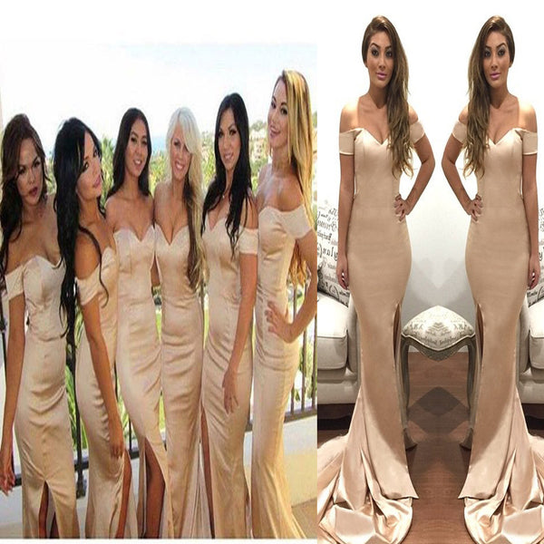 Long Off The Shoulder Mermaid With Slit Guest Party Bridesmaid Dresses, RG0096