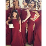 Burgundy Long Off The Shoulder With Slip Side Beading Bridal Bridesmaid Dresses. RG208