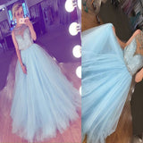 Blue Ball Gown Rhinestones Vintage For Teens Evening Party Long Prom Dresses. RG0172
