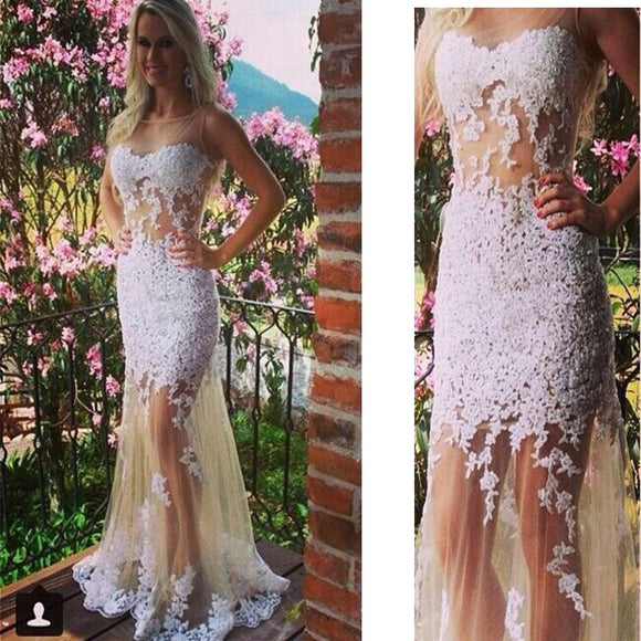 2017 Vintage White Lace Unique See Through Mermaid Evening Gowns ...