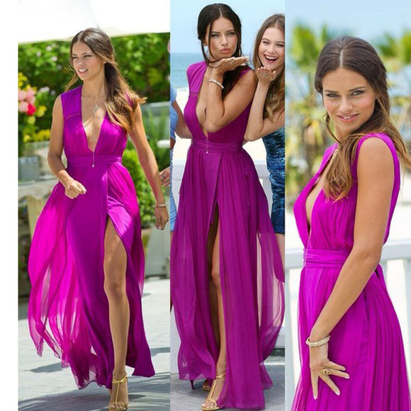 2017 Hot Sale Purple Chiffon Deep V-Neck Simple With Slip Side Long Prom Dresses. RG0174