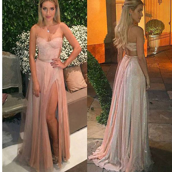 Spaghetti Straps Two Pieces Vintage With Slip Side Cocktail Evening Long Prom Dresses. RG0176