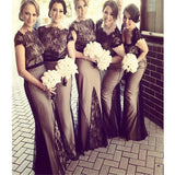 Black Lace With Short Sleeve Round Neck Vintage Modest Popular Fall Bridesmaid Dresses. RG213