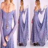 Long Lace With Sleeves Lavender A-line Simple Vintage Country Bridesmaid Dresses. RG0117