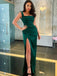 Elegant Cocktail One-shoulder Mermaid Side Slit For Young Girls Evening Long Prom Dresses.PB1201