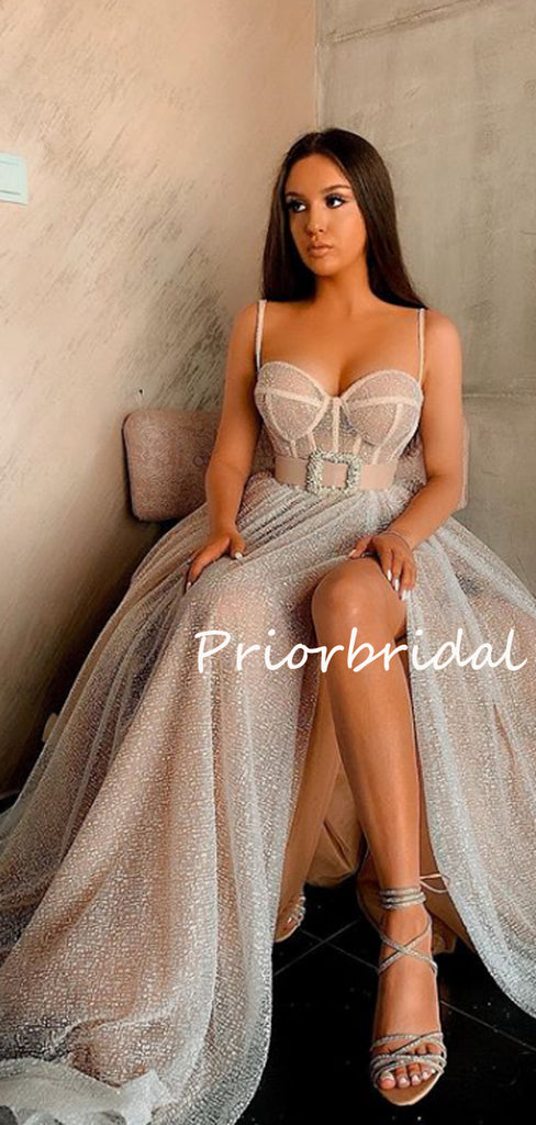 Elegant Cocktail Spaghetti Strap A-line Tulle Sequin Side Slit For Young Girls Evening Long Prom Dresses.PB1202