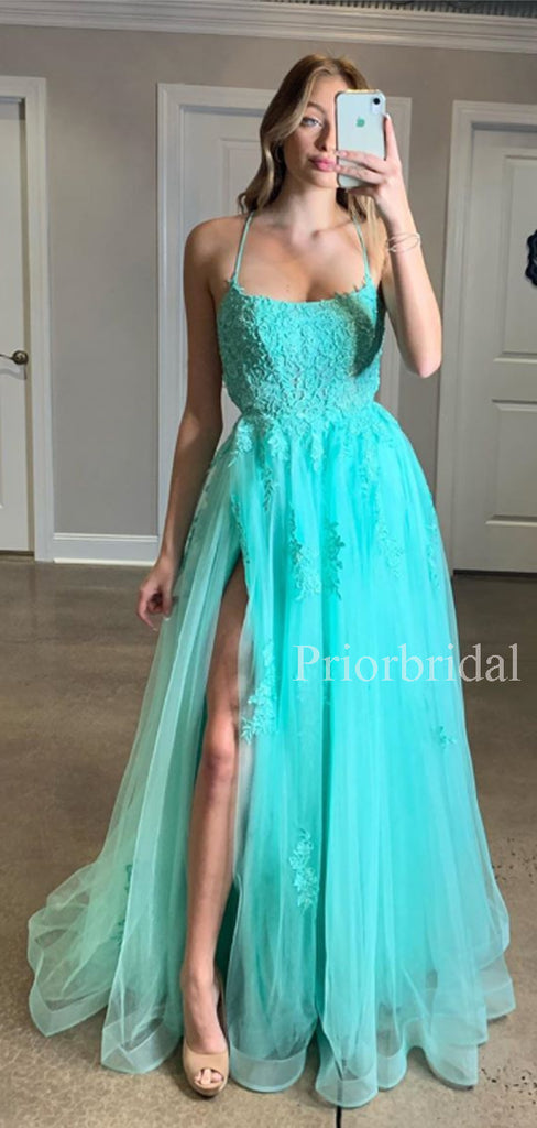 Charming V-neck Tulle Side Slit A-line Long Prom Dresses Evening Dresses.PD1131