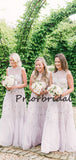 Charming Round Neck Simple Tulle Sleeveless Wedding Dresses Bridesmaid Dresses.PB1211