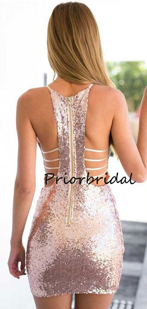 Simple Mermaid V-neck Sexy Sequin Homecoming Prom Dresses,PB1194