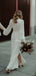 Beautiful V-neck Chiffon Long Sleeve Side Slit Long Wedding Dresses.PB1147