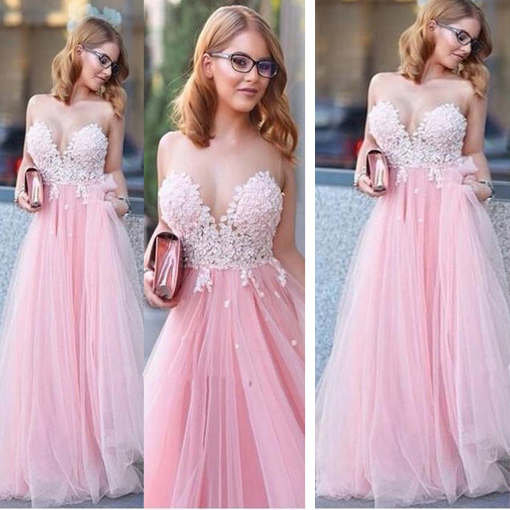 Pink Princess Sweetheart Lace Ball Gown For Teens Long Prom Gown Dresses. RG0177