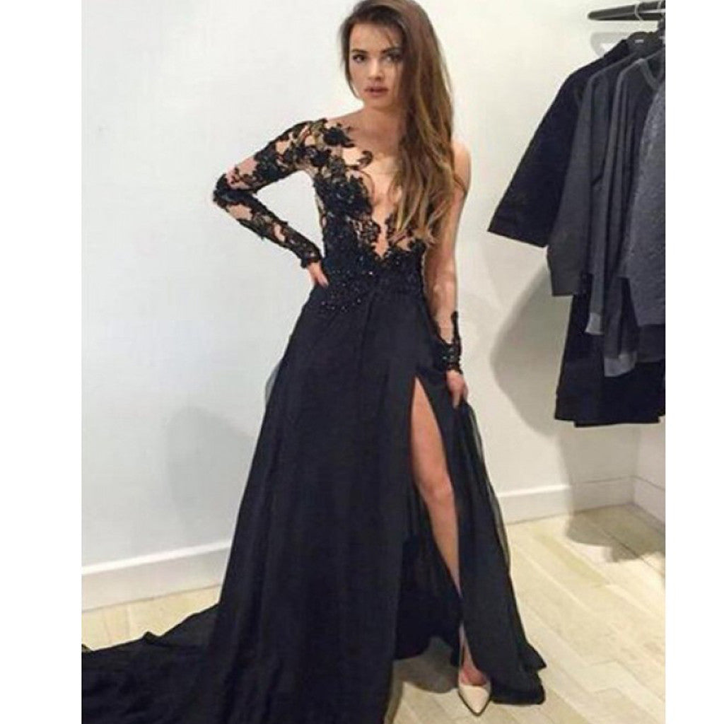 Sweetheart Cap-Sleeve Glamorous Black Lace Prom Dresses  |Formal Ball Dresses With Lace