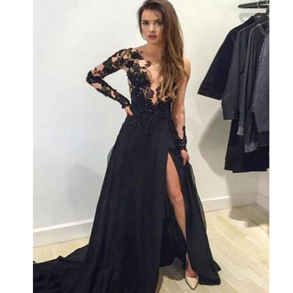 Black Lace Long Sleeves With Slip Side Ball Gown Formal Sexy Prom Dress.PB1005