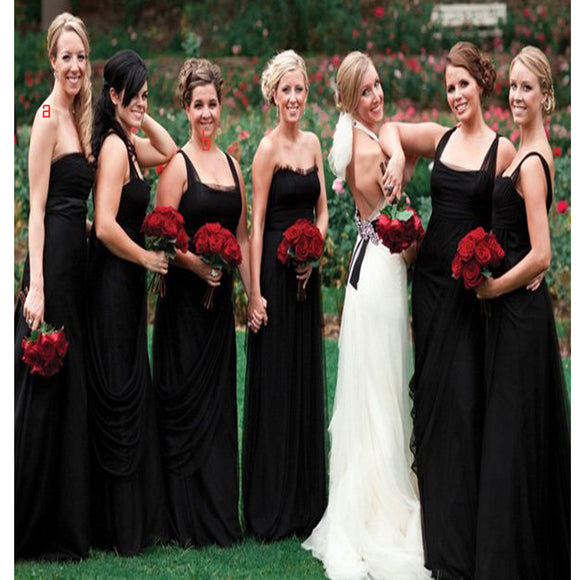 Long Black Simple Vintage With Straps Beach Wedding Party Bridesmaid Dresses, RG215