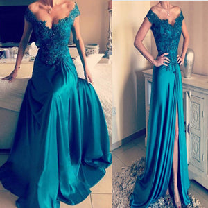 2017 Blue Off The Shoulder Floor Length V-Neck Vintage Long prom Dresses.RG0178