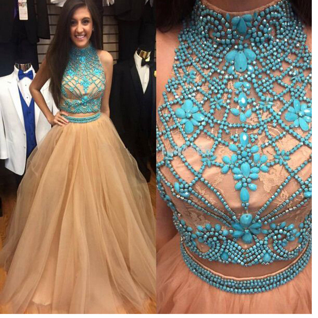 Two Pieces For Teens With Ball Gown Charming Formal Evening Long Sparkly Prom Dress. PB1006