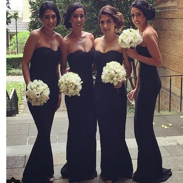 Black Strapless Mermaid Simple Long Bridesmaid Dresses for Wedding Party Guest, RG030