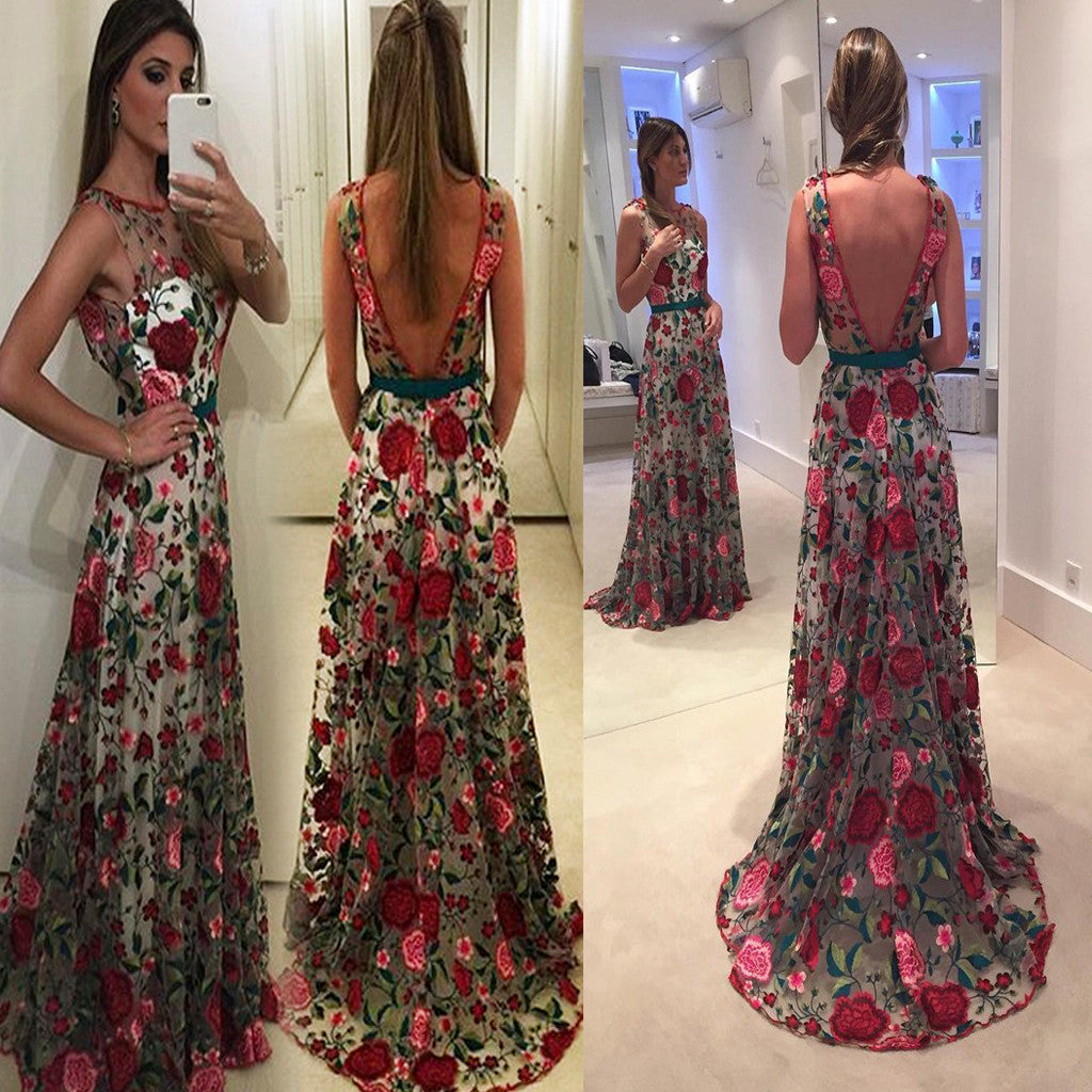 Vintage Flower V-Back Round Neck Appliques Unique Evening Long prom Dresses. RG0206